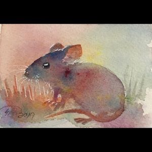 ACEO Original Painting Mouse sunset painting USA